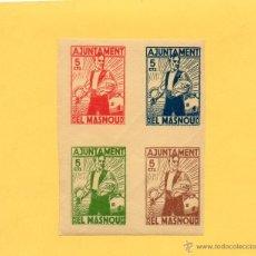 Sellos: AJUNTAMENT EL MASNOU. MARESME. BLOQUE 4 SELLOS 5 CÉNTIMOS. GUERRA CIVIL. 1936. VER FOTO.. Lote 48494735