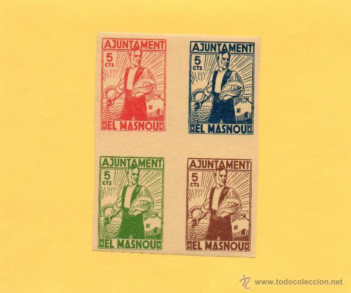 BLOQUE 4 SELLOS AJUNTAMENT EL MASNOU. GUERRA CIVIL. 1936. CON GOMA Y SIN CIRCULAR. VER FOTO. (Sellos - España - Guerra Civil - De 1.936 a 1.939 - Nuevos)