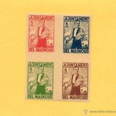 Sellos: BLOQUE 4 SELLOS AJUNTAMENT EL MASNOU. GUERRA CIVIL. 1936. CON GOMA Y SIN CIRCULAR. VER FOTO.. Lote 48494777