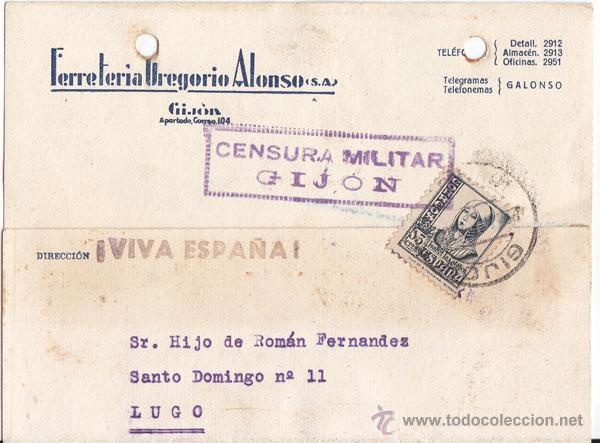 TARJETA DE GIJÓN. ASTURIAS. CENSURA MILITAR. SELLO 15 CTS. ISABEL LA CATÓLICA. 1938. (Sellos - España - Guerra Civil - De 1.936 a 1.939 - Cartas)