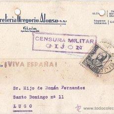Sellos: TARJETA DE GIJÓN. ASTURIAS. CENSURA MILITAR. SELLO 15 CTS. ISABEL LA CATÓLICA. 1938.. Lote 48513115
