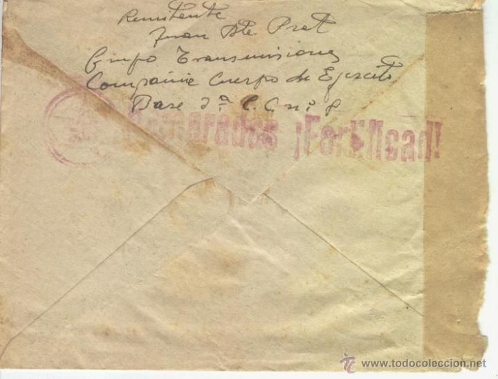 CARTA SOBRE GUERRA CIVIL TIMBRE EN ROJO ESTRELLA CAMARADAS FORTIFICAD CALLUS MANRESA CENSURA MILITAR (Sellos - España - Guerra Civil - De 1.936 a 1.939 - Cartas)