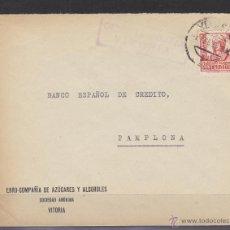 Sellos: CARTA MEMB EBRO CIA AZUCARES ALCOHOLES CENSURA MILITAR VITORIA 1938 DEST BANCO E. CREDITO PAMPLONA. Lote 48656712