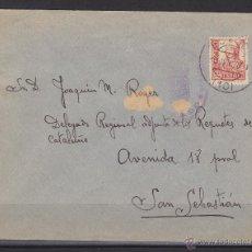 Sellos: CARTA CENSURA MILITAR BURGOS VISADO 1937 DEST SAN SEBASTIAN - JOAQUIN M. ROGER DELEGADO REQUETES . Lote 48661506