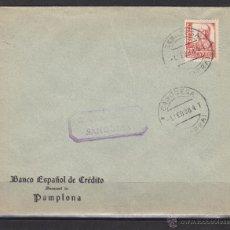 Sellos: CARTA 1938 CENSURA MILITAR SANGÜESA ( NAVARRA ) DEST PAMPLONA BANCO ESPAÑOL DE CREDITO. Lote 48662147