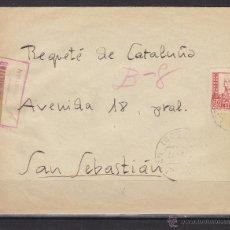 Sellos: CARTA ORIGEN BURGOS - CENSURA MILITAR SAN SEBASTIAN (GUIPUZCOA ) DES S. SEBASTIAN REQUETE CATALUÑA. Lote 48662268