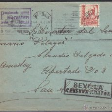 Sellos: CARTA MEMB PENSIONADO MAGISTER CENSURA MILITAR SEVILLA 1937 DEST SAN SEBASTIAN REQUETE PELAYOS . Lote 48662724