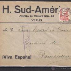 Sellos: CARTA MEMB H. SUD-AMERICA - CENSURA MILITAR VIGO 1938 - DEST PAMPLONA BANCO ESPAÑOL CREDITO. Lote 48663088