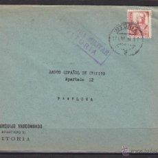 Sellos: CARTA MEMB BANCO URQUIJO - CENSURA MILITAR VITORIA 1938 - DEST PAMPLONA BANCO ESPAÑOL CREDITO. Lote 48663139
