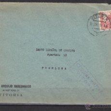 Sellos: CARTA MEMB BANCO URQUIJO - CENSURA MILITAR VITORIA 1938 - DEST PAMPLONA BANCO ESPAÑOL CREDITO. Lote 48663162