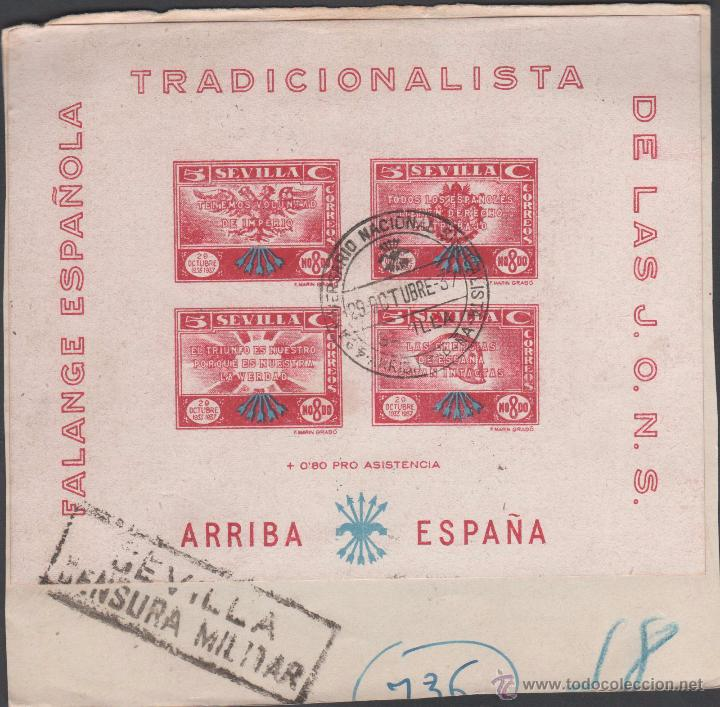 HB-16 GUERRA CIVIL - SEVILLA - FESOFI Nº 63 CIRCULADA SOBRE FRAGMENTO EL 29-10-37 CON CENSURA MILITA (Sellos - España - Guerra Civil - De 1.936 a 1.939 - Cartas)