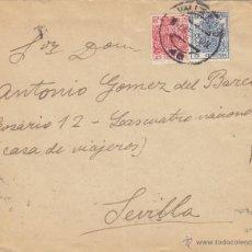 Sellos: CARTA MAT VALLADOLID / SEVILLA 1937 FRANQUEO FISCAL 49 - ESCUDO 68 DORSO CENSURA MILITAR SEVILLA. Lote 48720428