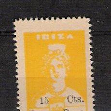Sellos: 0178 GUERRA CIVIL IBIZA 15 CTS. AMARILLO - FESOFI Nº 9 SIN FIJASELLOS. Lote 48744602