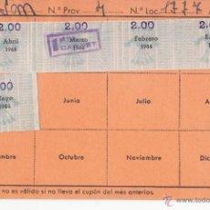 Selos: 5 VIÑETAS DE FALANGE PEGADAS EN UN CARNET. 1944. Lote 48917980