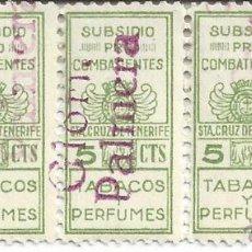 Sellos: LOTE 5 SELLOS SUBSIDIO PRO COMBATIENTES. 5CTS. STA. CRUZ DE TENERIFE. TABACOS Y PERFUMES. Lote 48989895