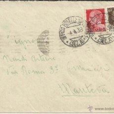 Sellos: GUERRA CIVIL CC TROPAS ITALIANAS MAT UFFICIO POSTALE SPEZIALE 5 1938 AL DORSO MAT LLEGADA. Lote 49197841