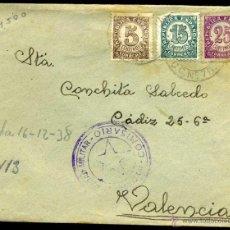 Sellos: SOBRE CIRCULADO - CUÑO COMISARIO DE LA 113 BRIGADA MIXTA DE SANIDAD MILITAR Y 7º CORREO DE CAMPAÑA . Lote 49215031