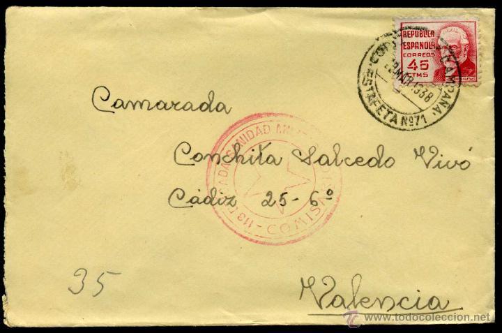 SOBRE CIRCULADO - CUÑO COMISARIO DE LA 113 BRIGª MIXTA SANIDAD MILITAR Y CORREO CAMPAÑA ESTAFETA 71 (Sellos - España - Guerra Civil - De 1.936 a 1.939 - Cartas)