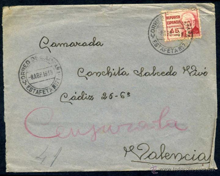 SOBRE CIRCULADO - CORREO DE CAMPAÑA ESTAFETA Nº 71 - 1938 (Sellos - España - Guerra Civil - De 1.936 a 1.939 - Cartas)