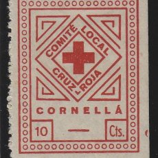 Sellos: CORNELLA ( BARCELONA ) COMITÉ LOCAL CRUZ ROJA 10 CTS NUEVO ** VIÑETA / LOCAL GUERRA CIVIL. Lote 49490725