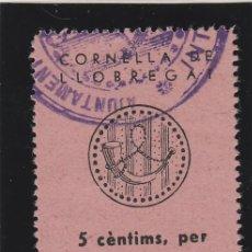Sellos: CORNELLA DE LLOBREGAT ( BARCELONA ) ASISTENCIA SOCIAL 5 CTS CON SELLO VIÑETA / LOCAL GUERRA CIVIL. Lote 49490775