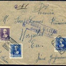 Sellos: SOBRE CIRCULADO CON CENSURA MILITAR - DE BARCELONA A FRANCIA JULIO DE 1939 - RARO FRANQUEO. Lote 49578995