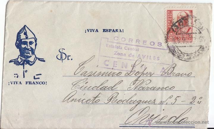 SOBRE DE AVILÉS. ASTURIAS A OVIEDO. 1938. CENSURA MILITAR. SOBRE ILUSTRADO FRANCO. (Sellos - España - Guerra Civil - De 1.936 a 1.939 - Cartas)