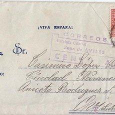 Sellos: SOBRE DE AVILÉS. ASTURIAS A OVIEDO. 1938. CENSURA MILITAR. SOBRE ILUSTRADO FRANCO. . Lote 49669618