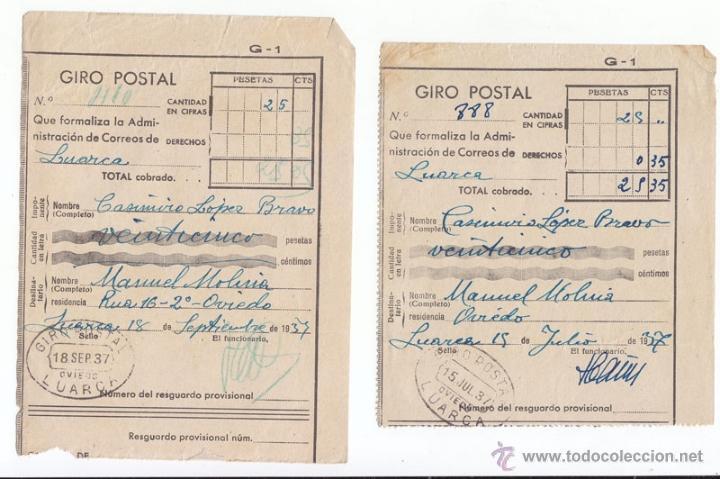 2 RESGUARDOS DE GIRO POSTAL. LUARCA. ASTURIAS. 1937 (Sellos - España - Guerra Civil - De 1.936 a 1.939 - Cartas)