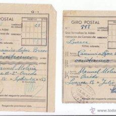 Sellos: 2 RESGUARDOS DE GIRO POSTAL. LUARCA. ASTURIAS. 1937. Lote 49687774