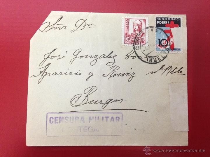 CARTA CENSURA MILITAR CORTEGANA 1937 A BURGOS (Sellos - España - Guerra Civil - De 1.936 a 1.939 - Cartas)
