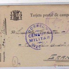 Sellos: TARJETA POSTAL DE CAMPAÑA. CORREO CENSURA MILITAR. VIZCAYA. REGIMIENTO INFANTERIA SAN MARCOS.. Lote 49906382