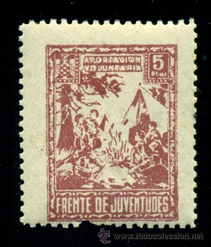 *** BONITAS 5 PESETAS DE FRENTE DE JUVENTUDES. NUEVO *** (Sellos - España - Guerra Civil - Beneficencia)