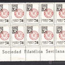 Sellos: .VIÑETAS III EXPOSICION FILATELICA NACIONAL, SEVILLA 12-20 OCTUBRE 1974, BLOQUE DE 10. Lote 50095910