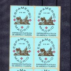 Sellos: .VIÑETAS EXPOSICION FILATELICA DE AMERICA Y EUROPA -ESPAMER 80- MADRID 3-12 OCTUBRE 1980, BLOQUE 6. Lote 50095945