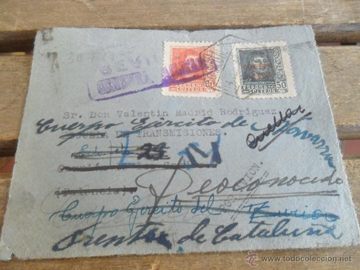 SOBRE CARTA CIRCULADA SOLO FRONTAL CENSURA MILITAR SEVILLA FRENTE DE CATALUÑA CORREO AEREO (Sellos - España - Guerra Civil - De 1.936 a 1.939 - Cartas)