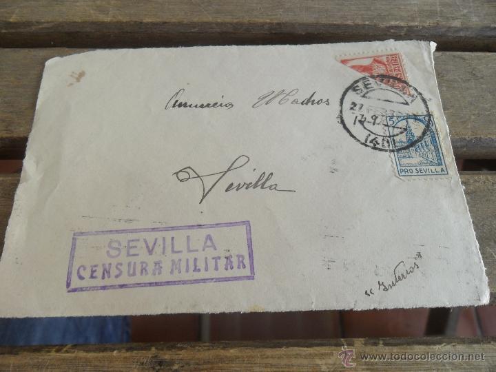 SOBRE CARTA CIRCULADA SOLO FRONTAL SEVILLA CENSURA MILITAR (Sellos - España - Guerra Civil - De 1.936 a 1.939 - Cartas)
