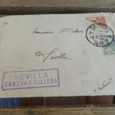 Sellos: SOBRE CARTA CIRCULADA SOLO FRONTAL SEVILLA CENSURA MILITAR. Lote 50114494