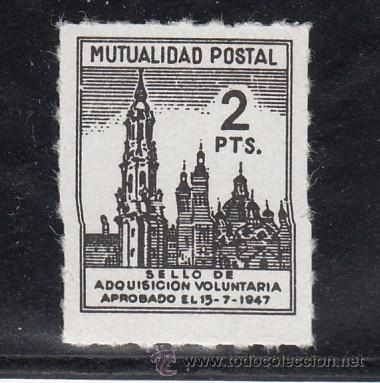 ,,BENEFICENCIA MUTUALIDAD POSTAL 2 PTA. TAMAÑO REDUCIDO SIN CHARNELA, CATALOGO GALVEZ (Sellos - España - Guerra Civil - Beneficencia)