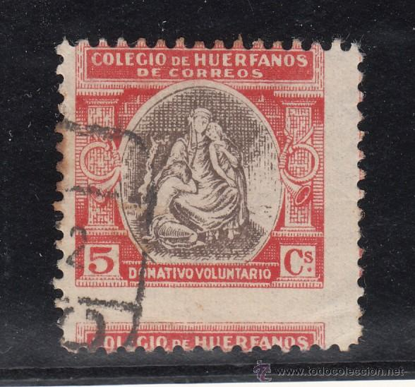 ,,BENEFICENCIA HUERFANOS DE CORREOS BENEFICO 1 USADA CORREOS, VARIEDAD TAMAÑO MAYOR Y DESPLAZADO (Sellos - España - Guerra Civil - Beneficencia)