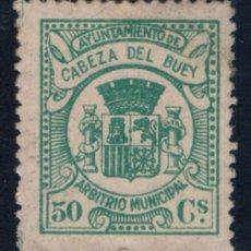 Sellos: CABEZA DEL BUEY (BADAJOZ) 50 CTS VERDE. Lote 50338241