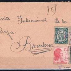 Sellos: 1939.- CARTA DIRIGIDA A LA DELEGACIÓN DE LA CRUZ ROJA EN BARCELONA. Lote 50340266