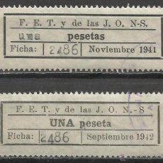 Sellos: 7093-2 SELLOS F.E.T. Y DE LAS J.O.N.S ,FALANGE UNA PESETA Y UNA PESETAS,DIFERENTES,ESPAÑA GUERRA CI. Lote 50346662