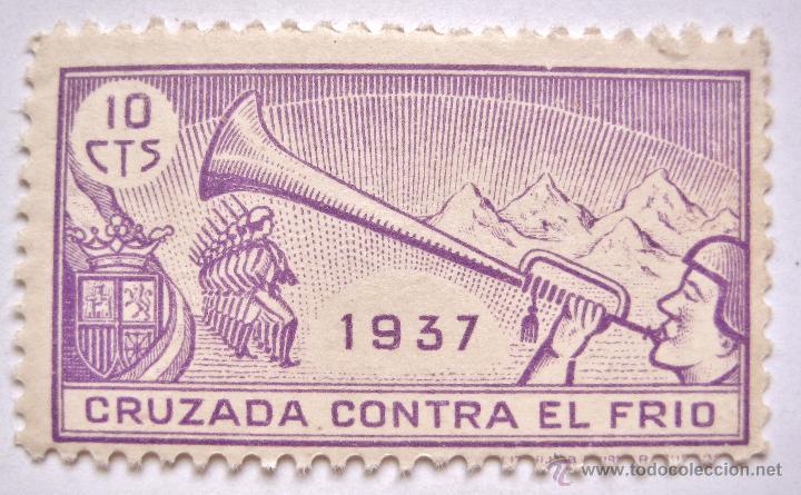SELLO CRUZADA CONTRA EL FRIO 1937 10 CENTIMOS GUERRA CIVIL (Sellos - España - Guerra Civil - Viñetas - Nuevos)