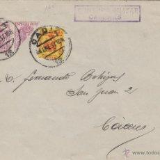 Sellos: CARTA MAT CÁDIZ 1937 / CÁCERES CENSURA MILITAR FRANQUEO BISECTADO CON FISCALES Nº 52 + BENÉFICO. Lote 50410558