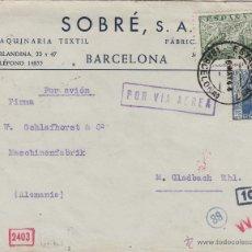 Sellos: CARTA CIRCULADA 6/5/1944 BARCELONA A ALEMANIA CORREO AÉREO CENSURA ESPAÑOLA Y ALEMANA. FQ 885 - 963. Lote 50411163