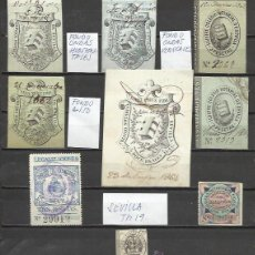 Sellos: 7198- GRAN COLECCION SELLOS FISCALES CORPORATIVOS DE SEVILLA COLEGIO NOTARIAL DIFERENTES,SIGLO XIX.. Lote 50426433
