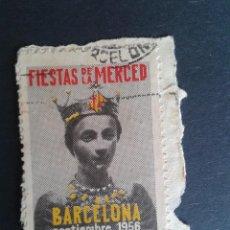 Sellos: VIÑETA DE LAS FIESTAS DE LA MERCED. BARCELONA 1956. EN FRAGMENTO.. Lote 50465682