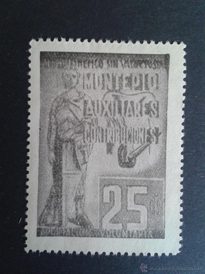 VIÑETA DEL MONTEPIO DE AUXILIARES DE CONTRIBUCIONES. (Sellos - España - Guerra Civil - Viñetas - Usados)