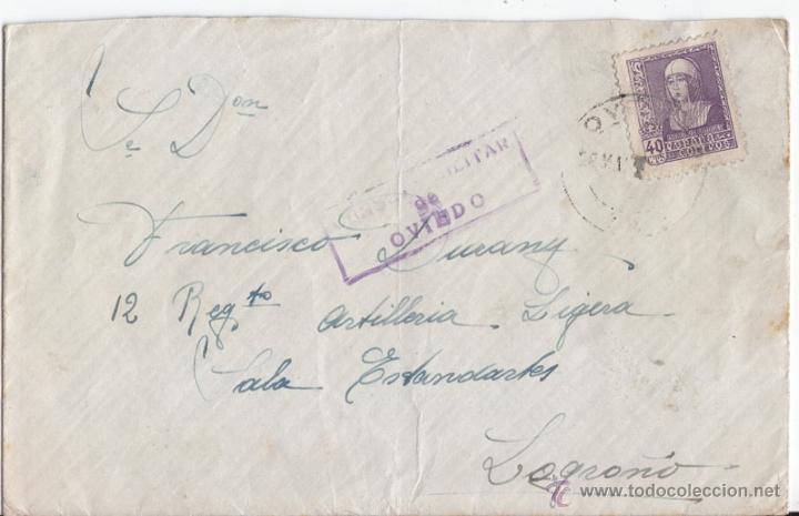 SOBRE DE OVIEDO A LOGROÑO. CENSURA MILITAR. ASTURIAS (Sellos - España - Guerra Civil - De 1.936 a 1.939 - Cartas)